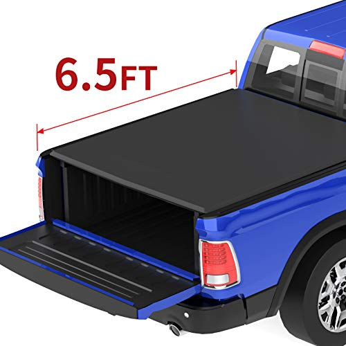 oEdRo Roll Up Truck Bed Tonneau Cover Compatible with 2002-2020 Dodge Ram 1500 ; 2003-2018 Dodge Ram 2500 3500, Fleetside, 6.5 Feet Bed