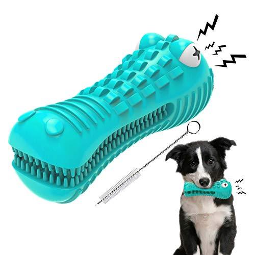 EZSMART Kauspielzeug Hund, Quietschspielzeug Hundespielzeug Unzerstörbarer Hundezahnbürste, Milchgeschmack Naturkautschuk Zahnreinigung Hund Spielzeug für mittlere große Hunde, 15-60LBS