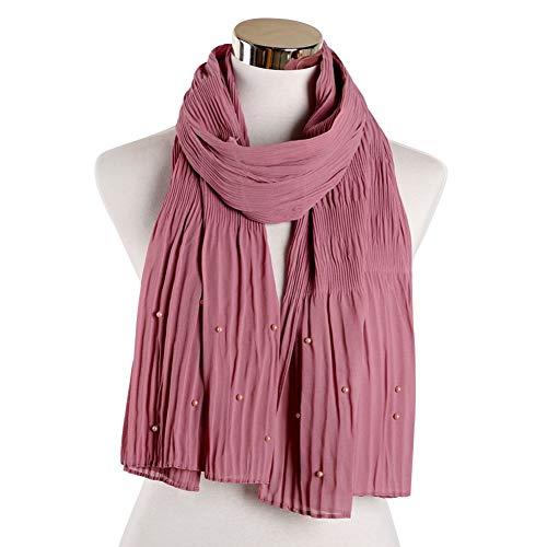 MYTJG Lady sjaal Effen kleur rimpel katoen trui parel sjaal sjaal dames Effen kleur sjaal warm en comfortabel warm