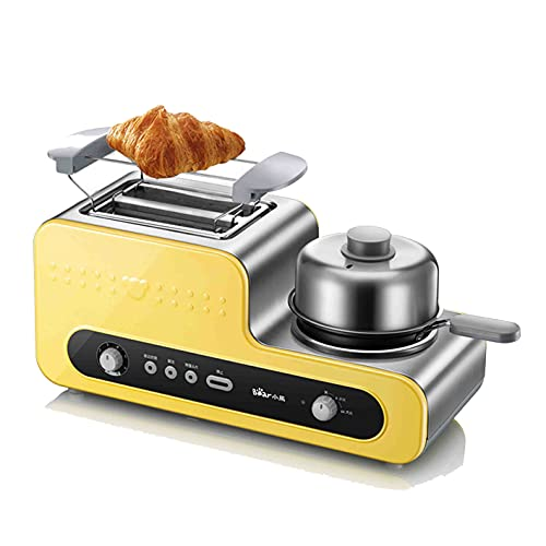 Parrilla de desayuno multifunción, tostadora de 4 en uno, tostadora automática, cocción a 6 velocidades, placa de cocción antiadherente, amarillo, champán