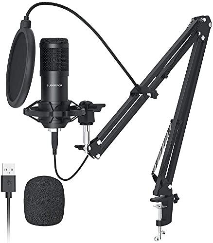 Microfono Streaming USB,SUDOTACK Micrófono PC Cardioide Condensador Micro Kit con Choque Soporte Araña Fop Filtro,para Skype YouTube Podcast Gaming