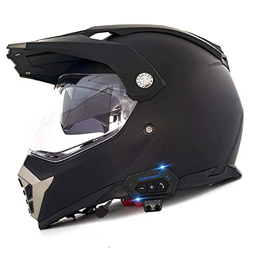 Casco de motocicleta con Bluetooth, para motocross, ATV, aprobado por DOT, para motocicleta, todoterreno, crash cross downhill DH, cuatro ruedas para adultos, hombres y mujeres