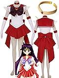 Sailor Moon Sailor Mars Halloween Cosplay Costume Hino Rei Halloween (Female S) Red