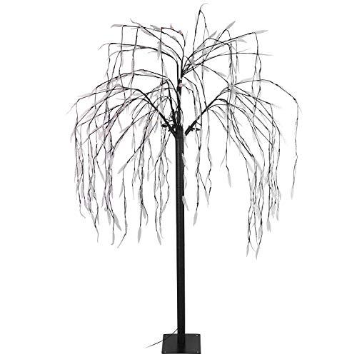 Multistore 2002 Lichterbaum Trauerweide 400 warmweiße LED H180cm mit Lauflicht, Lichterdeko Stimmungslicht Leuchtbaum Dekoration Stimmungsleuchte