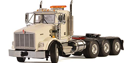 Kenworth T800 8X4 4 Axle Tractor Day Cab White 1/50 Diecast Model by WSI Models 33-2016