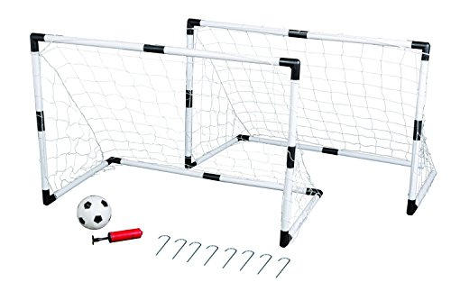 Idena 7370007 - Mini Fußballtor Set, 2 Tore, 1 Ball und Pumpe, ca. 90 x 60 x 50 cm