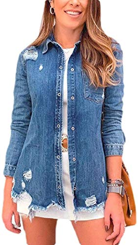 Women Washed Cotton Ripped Long Sleeve Jean Denim Jacket,Blue,Small