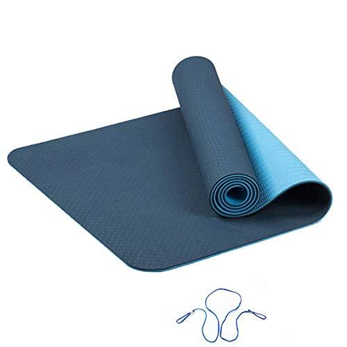 N-B 1830 * 610 * 6 Esterilla de Yoga Deportiva TPE Esterilla de Yoga protección del Medio Ambiente Esterilla Antideslizante de Fitness Pilates Esterilla de Fitness con línea de posicionamiento