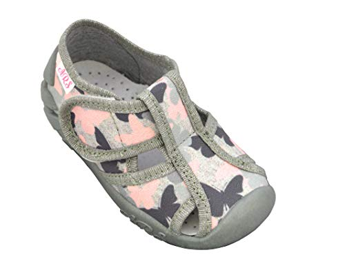 ARS - Eerste Schoenen voor Kleine Meisjes 1-3 Jaar- Kinderschoenen met Klittenband, Rubberen Zool & Lederen Inlegzolen met Actieve Koolstof- Vele Kleuren: Roze, Goud, Blauw, Grijs- Maten 20 21 22 23 24 25 26 EU