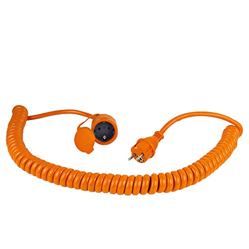 as - Schwabe Baustellen-Spiralleitung – Robuste Schutzkontakt-Spiralleitung, dehnbar von 1 m bis 5 m – Mit Schutzkontakt-Stecker & -Kupplung – 230 V / 16 A Verlängerungskabel – IP44 – Orange I 70415