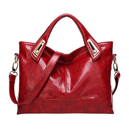 TENDYCOCO Damen Damen Handtasche Vintage Luxury Wax Echtleder Tote Umhängetasche Umhängetasche Satchel Handtasche (Dunkelrot)