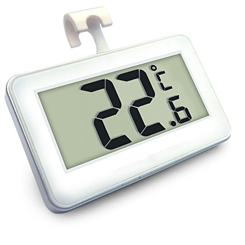 Digital Refrigerator/Freezer Thermometer, AIGUMI Waterproof Freezer Thermometer with Hook - Easy to Read LCD Display - Perfect for fridge (1Pack)