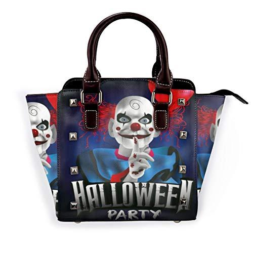 BROWCIN Beängstigender Clown mit einem Ballon Halloween Party Flyer Abnehmbare mode trend damen handtasche umhängetasche umhängetasche