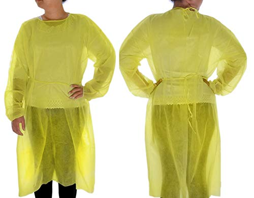 Dealmed 782046 Level 1 Non-Surgical Isolation Gown, Disposable, Yellow, 10/Pack
