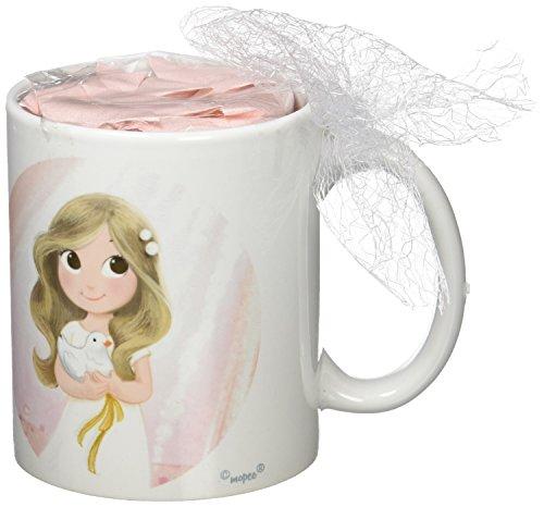 Mopec Taza Primera Comunión de Porcelana para niña Adornada con Caramelos de Frutas, Pack de 1 Unidad, Blanco, 8.20x8.20x9.50 cm