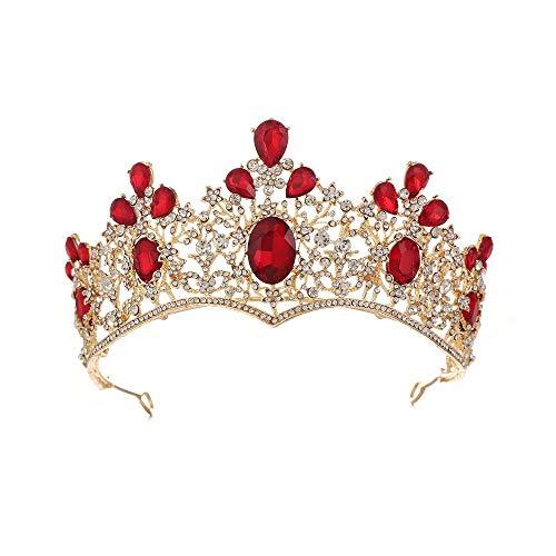 YTGUEVKDH Lujo de la Corona de la Reina del Barroco de la Vendimia Aleación Nupcial de Oro Corona Vestido de Novia Accesorios de Vestir de Cristal Rojo