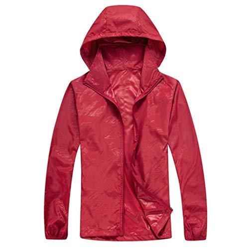 ZHANSANFM Sonnenschutzkleidung Unisex Ultradünne atmungsaktive Kleidung Radtrikot Radjacke Softshell Lightweightjacke Regenjacke upf50 uv-schutzkleidung Haut Windbreaker Outdoor (L, Rot)