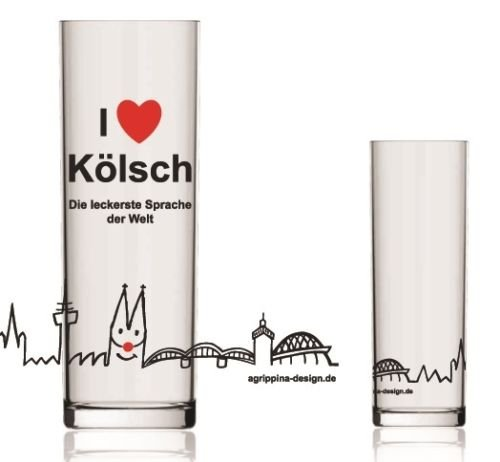 Tolles Kölschglas ~ Kölsches Grundgesetz ~ Köln Dom Glas Kölsch Stange Karneval (Modell: I love Kölsch)