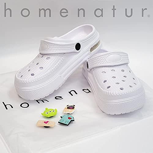 HOMENATUR Zuecos Sanitarios Mujer Blanco - 4 Pines Decorativos - Amortiguación Cámara Aire - Antideslizante Transpirable y Ligero - Sanidad Hostelería Zapatos Trabajo Seguridad Comodidad (41)
