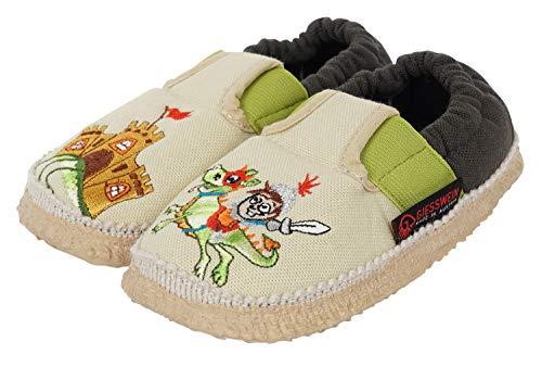 GIESSWEIN Kinderhausschuh Adelsheim - Baumwoll Slipper für Jungs, Sommer Hausschuhe, leichte Pantoffeln aus Baumwolle, rutschfeste Latex Sohle, extra Grip, Gummizug