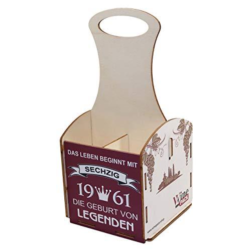 Weinträger aus Holz, Verpackung für Weinflaschen, Weinbox aus Holz, Weinkiste, Geschenkverpackung, Geburtstagsgeschenk, Holzkiste, Geschenke für Männer, 60. Geburtstag, 60 Jahre,