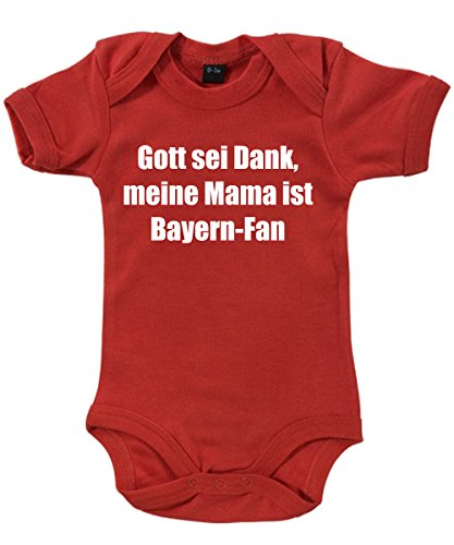 clothinx - Gott sei Dank, Meine Mama ist Bayern-Fan - Babybody Rot, Größe 0/3 Monate