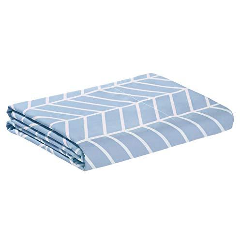 Amazon Basics - Lenzuolo di sopra in microfibra di prima qualità, 275 x 275 cm, blu nebbia a zigzag
