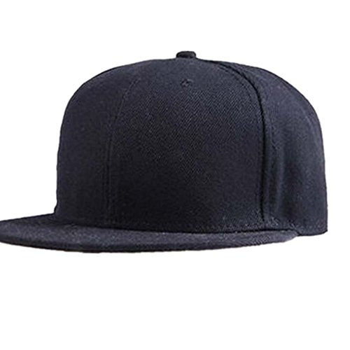 VESNIBA Fashion Unisex Plain Snapback Hats Hip-Hop Adjustable Baseball Cap (Black)
