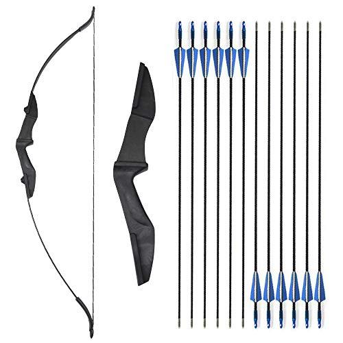 SHARROW Takedown Arco Ricurvo e Set di Frecce Tiro con L'Arco 30-40lbs con 12pcs Frecce in Fibra di Vetro per Giovani Adulti Principianti (Nero, 35lbs)