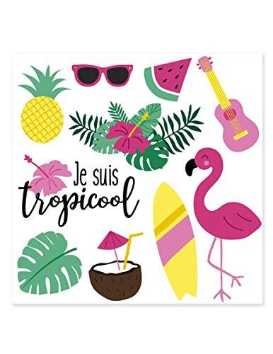 Generique - Tatouages éphémères Je suis Tropicool 80 x 80 mm