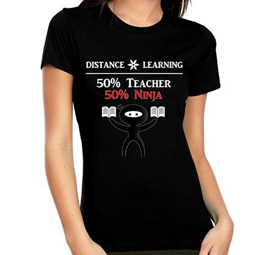 Fire Fit Designs - Camicia per insegnanti a distanza per insegnanti   Camicia da donna per insegnanti di distanza   Camicia per insegnanti di quarantena - nero - S