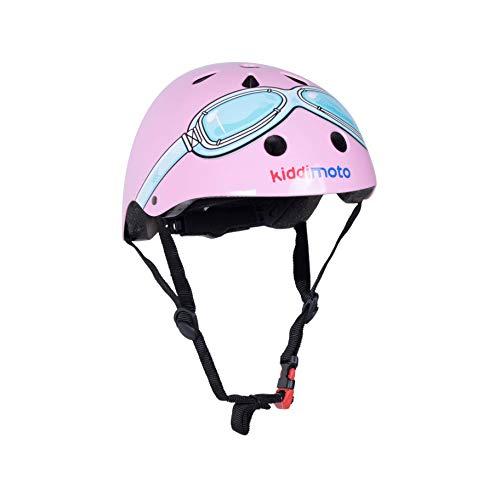 kiddimoto 2kmh021s - Design sporthelm Goggle, Pilot S voor hoofdomtrek 48-53 cm, 2-5 jaar, roze