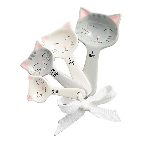 World Market Cat Shaped Ceramic Measuring Spoons - Perfect for Any Cat Lover - Cat Ceramic Measuring Spoons Baking Tool - Creative Functional Kitchen Decor - Comes in White and Gray - Set of 4