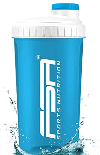 Shaker per Proteine 700 ml del marchio sportivo professionale FSA Nutrition con scala di misurazione e tappo a vite, per frullati dietetici e proteici, privo di BPA - Turchese