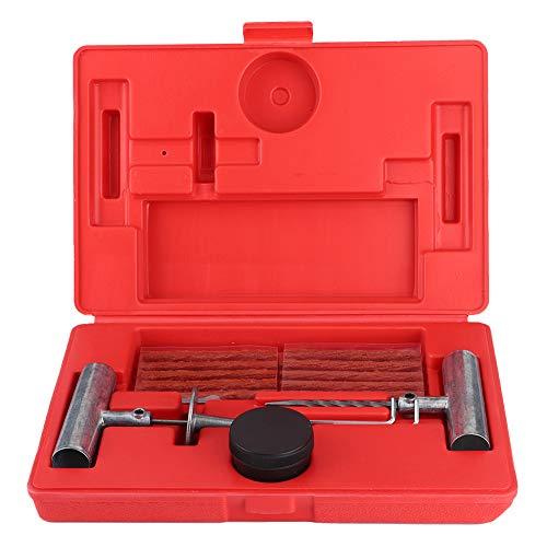 Fydun Kit de reparación de neumáticos Kit de reparación de neumáticos sin cámara Herramienta de reparación de Tapones de pinchazos de neumáticos para Tractores Cortacésped Camiones Automóviles Rueda