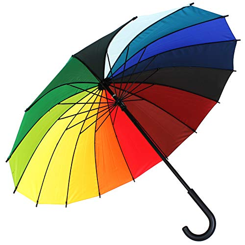 Regenbogen Regenschirm 16 Farben Schirm Golfschirm Partnerschirm