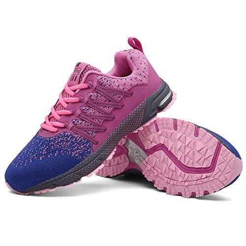 SOLLOMENSI Zapatillas de Hombres Deporte Running Zapatos para Correr Gimnasio Sneakers Deportivas Padel Transpirables Casual Montaña 35 EU A Rosa