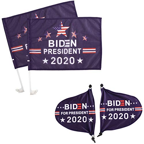 4 Pack Biden 2020 Car Flag and Biden Car Side Mirror Cover- Double Side Blue Support Biden Car Vehicle Flag with Pole and Auto View Mirror Protect Cover for American Election Day