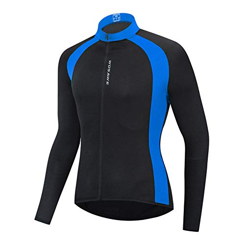Cycling Jacket Bicycle Long-Sleeved Quick-Drying Sweat-Wicking Shirt Windproof Breathable Dry Coat with Reverse Cursor, Pocket for Cycling Running Walking,Blue,M