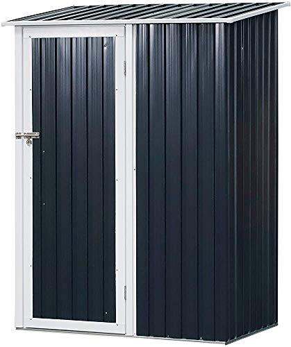 Cobertizo de almacenamiento, herramientas de jardín de metal equipo al aire libre de almacenamiento cobertizo de techo inclinado puertas, pintura tiempo con llave,Grey