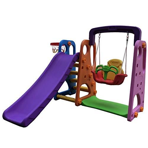 ATAA Parque Infantil 3 en 1 - Violeta - Parque Infantil para niños 3 en 1 Columpio, tobogán y Canasta de Baloncesto