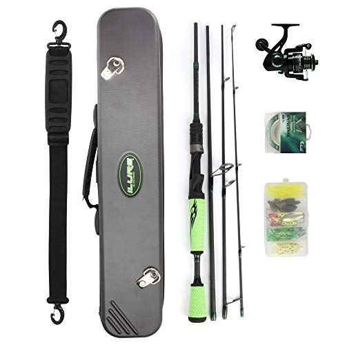 Night Cat Spinning Fishing Rod and Reel Combo Set with Carrier Case Carbon Fiber Lightweight MH Fast for Bass Catfish Sturgeon Tuna Carp Salmon for Saltwater Freshwater Kids Adults 6.6FT