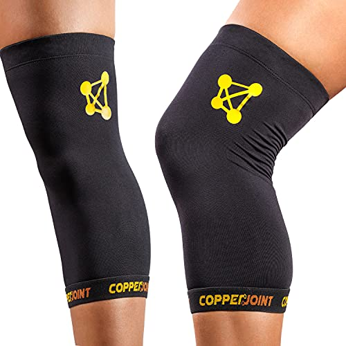 Knee Compression Sleeve by CopperJoint - Knee Support for Women & Men - Breathable Copper Infused Nylon - Non-Slip - For Pain Relief, Recovery, Swelling & Circulation – Single Sleeve Only (Medium)