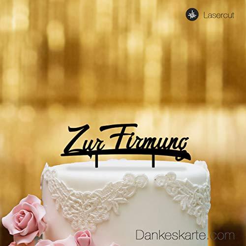 Dankeskarte.com Cake Topper Zur Firmung - für die Torte zur Firmung - Acrylglas schwarz - XL - Tortenaufsatz, Kuchen, Tortendeko, Tortenstecker, Kuchanaufsatz, Kuchendeko