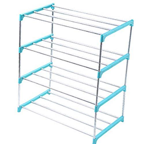 Zapatero apilable de 3/4 niveles, para ahorrar espacio, organizador de almacenamiento de zapatos (tamaño: como se muestra; color: azul 4 niveles)