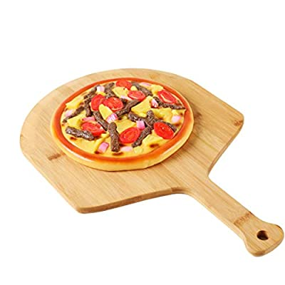 Premium Natural Bamboo Pizza Peel With Handle for Homemade Pizza and Bread Baking Size 20'' x 14'' x 0.5'' (14in, Bamboo)