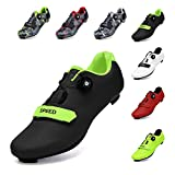 SWISSWELL Men's Road Cycling Shoes Compatible Mountain Bike with SPD/SPD-SL & Lock Cleats & Fast Rotating Buckle (Black,11)