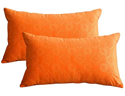 Lutanky Funda de cojín de Terciopelo Suave (Paquete de 2) Fundas de Almohada Modernas rectangulares para sofá Cama (30 x 50 cm)(Naranja,2 Piezas)