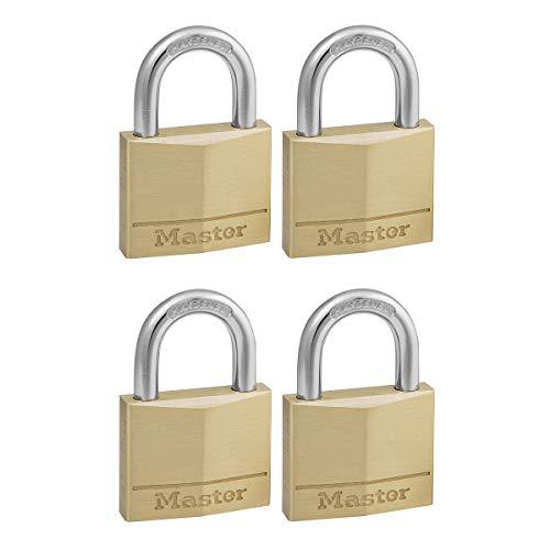 Master Lock 150EURD Lote de 4 Candados de Ancho con Cuerpo de Latón Macizo, Dorado, 6.8 x 5 x 1.4 cm