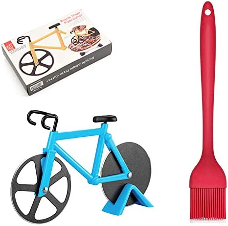 Zhenpony Bicycle Pizza Cutter Wheels Sharp Bike Pizza Slicer with Stand and BBQ Brush Dual Stainless product image